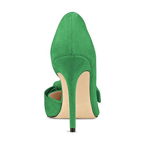 Camoscio Tacco 4 Green Piedi Con Chic Di Donne Fsj Bowknot Il Scarpe Punta 15 D'orsay Us Alto Formato Pompa Vestito f4RBqwnx