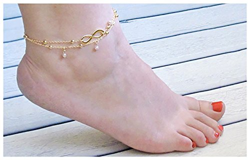 Suyi 2 Pcs Elegant Double Chain Number 8 Bead Beach Anklet Pearl Bracelet Gold - Number 2 Bead