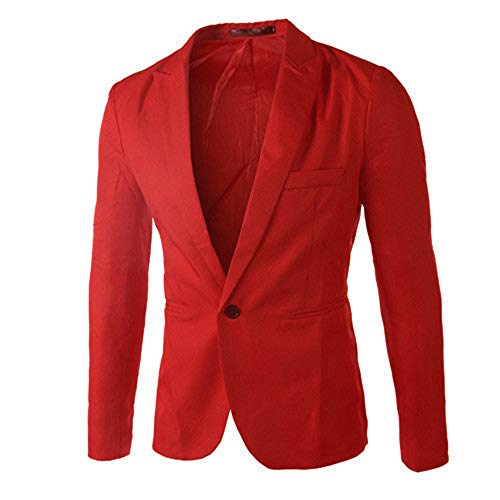 (TANGSen Charm Men's Blazer Casual Slim Fit Solid One Button Suit Long Sleeve Blazer Stylish Coat Jacket Tops Red)