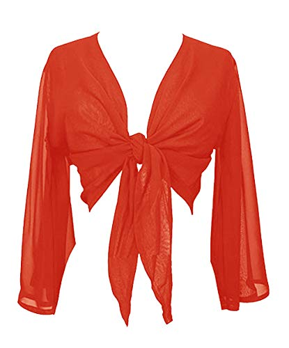 Indian Trendy Women's Chiffon Flair Wrap Tie Top Choli Blouse Belly Dance Gypsy (One Size, Orange) ()