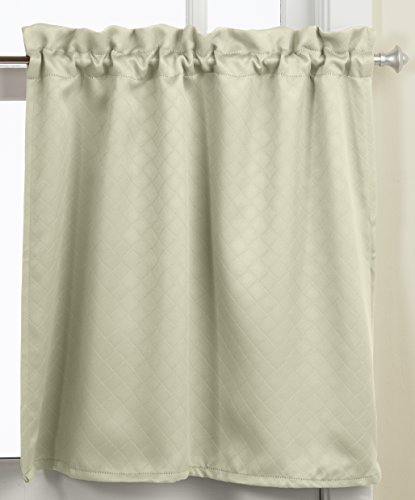 Lorraine Home Fashions Facets Room Darkening Blackout Tier Curtain Pair, 55  By 24 Inch, Green