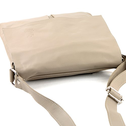cuir en modamoda sac Graubeige grande ital Messenger de sac épaule T75 dames qTT8UOx