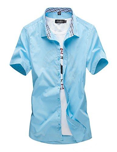 [スゴフィ]SGFY  メンズ ポロシャツ チェック柄の襟 無地 カジュアル シャツ ゴルフ ウェア (2XL, ブルーグリーン)