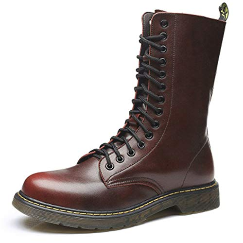 Vintage Men Mid-Calf Army Boots Lace-Up Genuine Leather for sale  Delivered anywhere in Canada