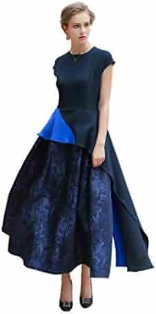 a293f3bd900 VOA Women's Short Sleeve Navy Blue Scoop Splicing Silk Maxi Dress ALX01601