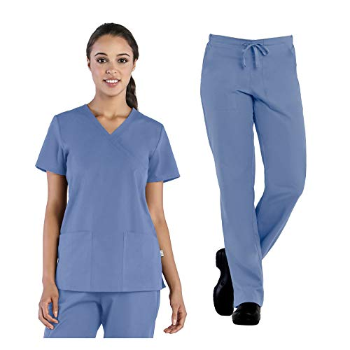 Tru Basic Womens Mock Wrap 2-Pocket Top 10103 & Half Elastic Drawstring Pant 90102 Scrub Set (Ceil Blue, Small Petite) (2 Pocket Mock Wrap)