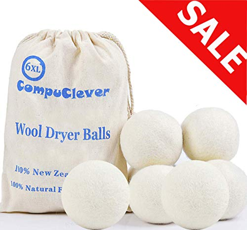 Wool Dryer Balls Organic XL 6-Pack Handmade Natural Fabric Softener Laundry Handmade Dryer Balls New Zealand Wool Dryer Sheets Alternative Hypoallergenic Reduce Wrinkles Shorten Drying Time (100 Percent Cotton Towels Made In Usa)