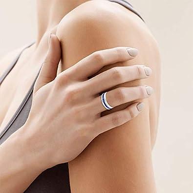 Valentine Bridal Promise Ring September Birthstone Ring IGI Certified Diamond Eternity Ring Valentine Day Gift Blue Stone Anniversary Ring Blue Sapphire Wedding Band