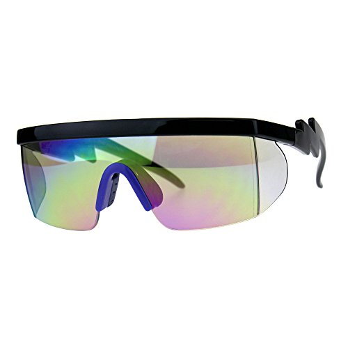 Flat Top Crooked Bolt Arm Goggle Style Color Mirror Shield 80s Sunglasses Black Blue ()