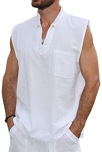 - Men's White Shirt 100% Cotton Casual Hippie Shirt V-Neck Drawstring Short Sleeve Beach Yoga Top (Sleeveless White, Medium)