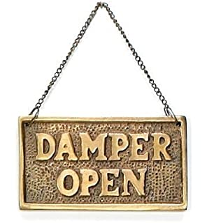UD Hanging Fireplace Damper Open Closed Sign