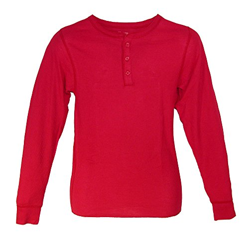Hanes Men's Thermal 3 Button Henley Insulated Shirt, Medium, Red -