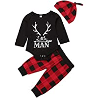 Lamuusaa Newborn Infant Toddler Baby Girl Boy Letter Printed Long Sleeve Romper Bodysuit Pants Hat Fall Winter Outfit