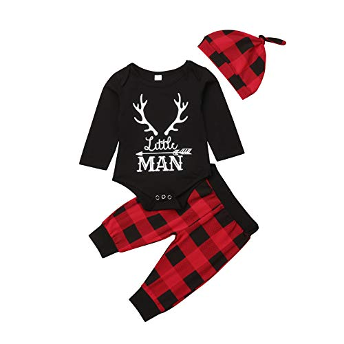 Lamuusaa Newborn Infant Toddler Baby Girl Boy Letter Printed Long Sleeve Romper Bodysuit Pants Hat Fall Winter Outfit (0-6M, Red+Black)