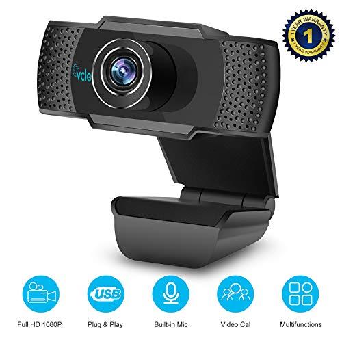 🥇 vcloo Cámara Web 1080P Full HD con Micrófono – Computadora Portátil PC Webcam de Escritorio USB 2.0 Webcam para videollamadas