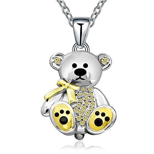 Bear Jewelry - Sterling Silver Gift Teddy Bear Pendant Necklace Crystal Cute Animal Bear Gift Jewelry Necklace for Women Girl,Birthday, Love,Apology,Party