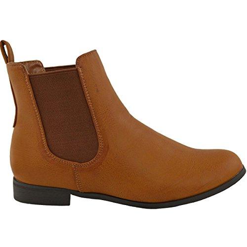 Chelsea Tostad Piel Equitación tacón Talla Botines Bajo Zapatos Sintética Elástico Tacón SIN CIERRES Plano Mujer de Escudete wZ6qt7zxnF