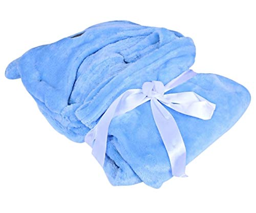 BRANDONN All Season Supersoft Beige Star and Blue Dog Hooded and Printed Baby Blanket and Baby Bath Towel -Pack of 2