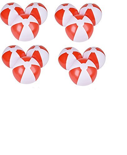12'' Beach Balls ~ One Dozen Red & White Beach Ball Inflates ~ Patriotic Beachballs ~ Pool Decor Beach Favor Water Play Fun Outdoor Birthday Fourth July Luau Wedding Celebration by RN (Wedding Beach Balls)