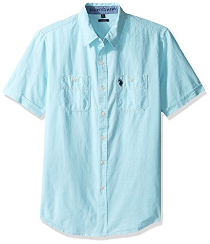 U.S. Polo Assn. Men's Solid Short Sleeve Slim Fit Two Pocket Sport Shirt, Spring Water, XL 2 Pocket Button