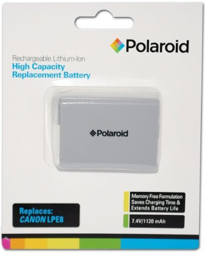 Polaroid High Capacity Canon LPE8 Rechargeable Lithium Replacement Battery (Compatible With: Canon EOS T3i, T2i) PLBTCNLPE8
