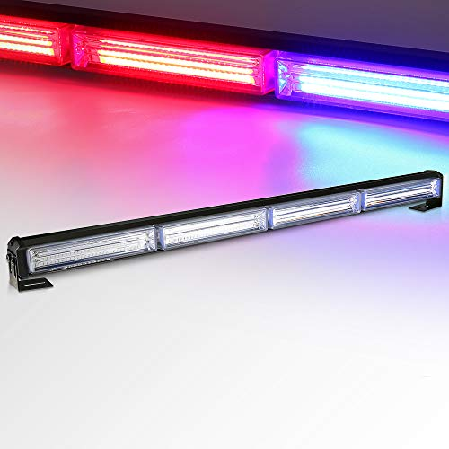 "TSIALEE LED Strobe Light Bar Traffic Advisor, COB 24"" 42W Warn Emergency Hazard w/Cigar Lighter for Police, Snow Plow, Truck, Law Enforcement Vehicle,Ambulance, Fire truck(Red Blue)"