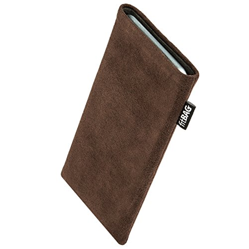 fitBAG Classic Brown Custom Tailored Sleeve for Apple iPhone Xr | Made in Germany | Genuine Alcantara Pouch...