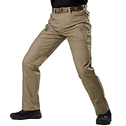 FREE SOLDIER Men's Camo Cargo Pants with Zipper Pocket Water Resistant BDU Gear Army Tactical Pants