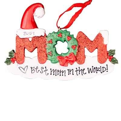 Mom Personalized Ornament - (Unique Christmas Tree Ornament - Classic Decor for A Holiday Party - Custom Decorations for Family Kids Baby Military Sports Or Pets)