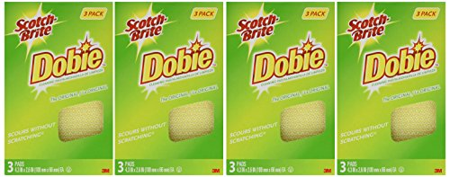 (Scotch-Brite Dobie All Purpose Pads, 3-Count (Pack of 4) Total 12 Pads)