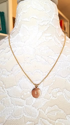 Personalized Hand Stamped Name Round 18 KT Gold Vermeil Pendant Necklace