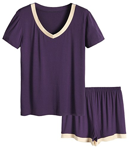 Latuza Women's V-Neck Sleepwear Short Sleeve Pajama Set (Large, Eggplant) ()