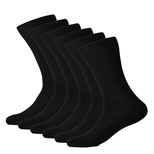 Meritti Men's 6 Pack Dress Socks (Black)Fits Shoes Sizes 6-12 (Sock Size 10-13) from Meritti