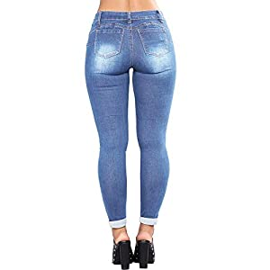 F_Gotal Jeans, Womens High Waisted Skinny Denim Stretch Slim Length Jeans High Waisted Destroyed Denim Pants Pencil Pant