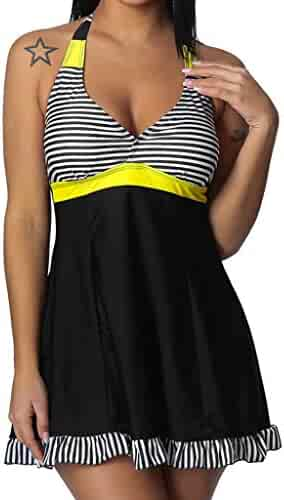 e4f6dbe2cf29 First Valentines Day, Women Plus Size Striped Tankini Swimjupmsuit Swimsuit  Beachwear Padded Swimwear