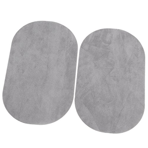 1 Pair Oval Flocking Fabric Iron on Elbow Knee Patches 18x11cm (Light Grey)