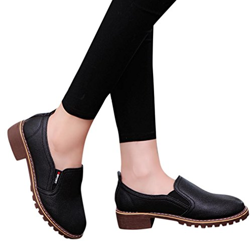 Baigoods Women's Ladies Shoes Fashion Ankle Flat Oxford Leather Casual Shoes Short Square Heel Boots (US:7, Black)