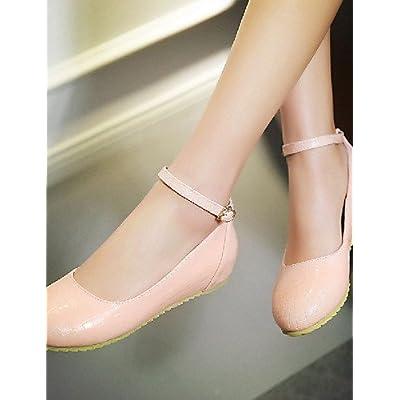 shangy idamen Chaussures–Ballerines–outddor/bureau/Lässig–– Plat Paragraphe–Ronde–Chaussures en Simili Cuir Noir/Rose/Beige