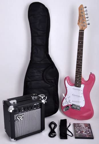 Guitarra eléctrica para zurdos, tamaño 3/4, color rosa, con ...