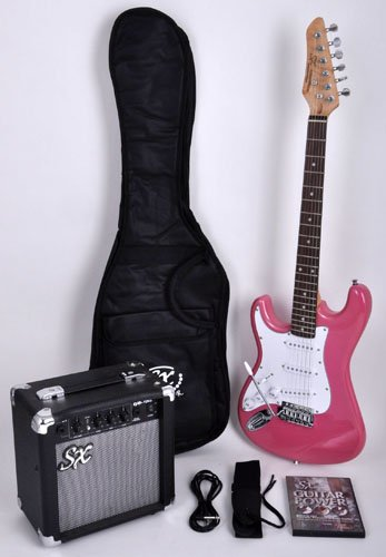 SX RST 3/4 LH BGMY Left Handed Short Scale Pink Guitar Package with Amp, Carry Bag and Instructional DVD by SX