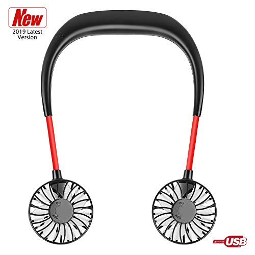 Portable Neck Fan Battery Operated - USB Rechargeable Hands-Free Personal Fans, Headphone Design Mini Cooler Wearable Neckband Fans for Travel Office Sports Outdoor(Aromatherapy Slice Included)