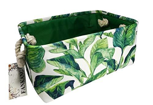 Rectangular Fabric Storage Bin Laundry Basket Nursery Storage Hamper,Book Bag,Gift Baskets (Green Plant)]()