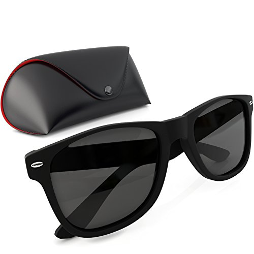 Wayfarer Style Sunglasses Set Black Polarized Large Unisex Outdoor Sports Glasses for Men Women Teens with UVA/UVB Protection Retro 80s Vintage Hipster Eyewear Brand New Wayfarers with Carrying - Face For Types Sunglasses