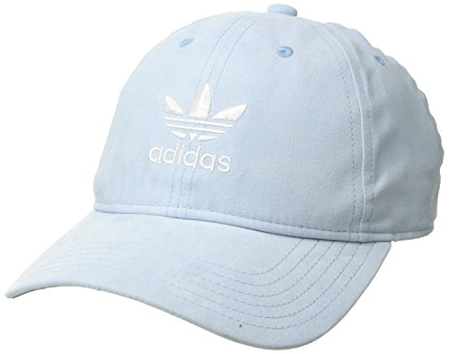 adidas Women's Originals Relaxed Plus Adjustable Strapback Cap, Aero Blue Suede/White, One Size from adidas