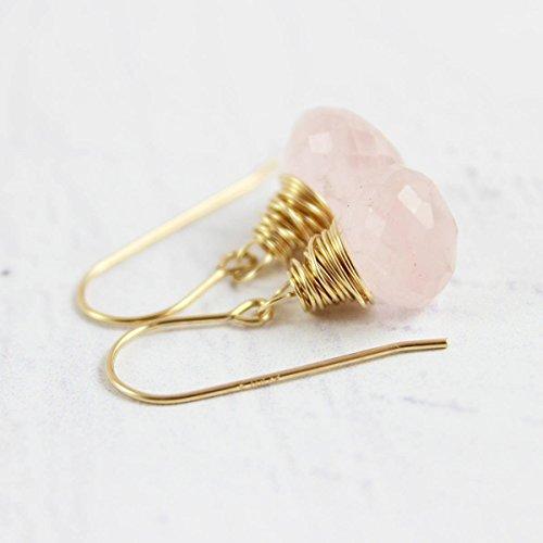 Light Pink Rose Quartz Gold Filled Earrings