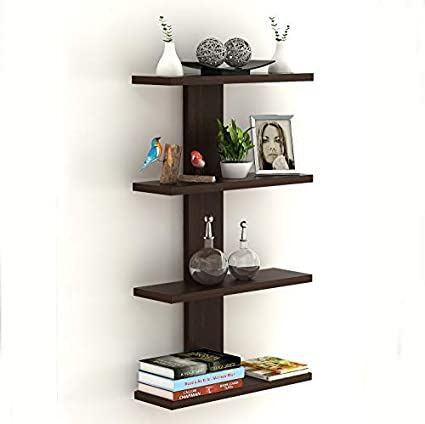 Bluewud Stellar Plus Decor Wall Shelf/Display Rack (Wenge, 4 Shelves)