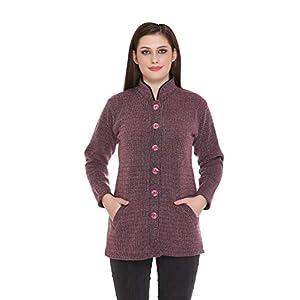 PIPASA Women Woollen Buttoned Collar Neck Printed Party Winter Wear Coat Cardigan
