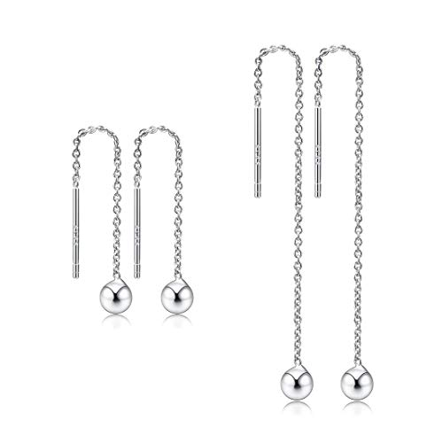 CAT EYE JEWELS Threader Earrings 925 Sterling Silver Platinum Plated Dangle Earrings Silver 7cm+3cm