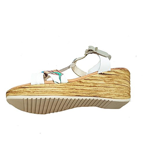 Sandalia piel blanca. Estampado varios colores. Talla 37