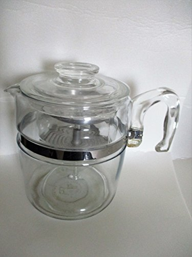 (Vintage Pyrex 9 cup Flameware Percolator w/ Glass Stem and Basket)